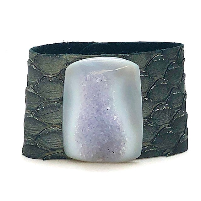 GEMSTONE LEATHER CUFF