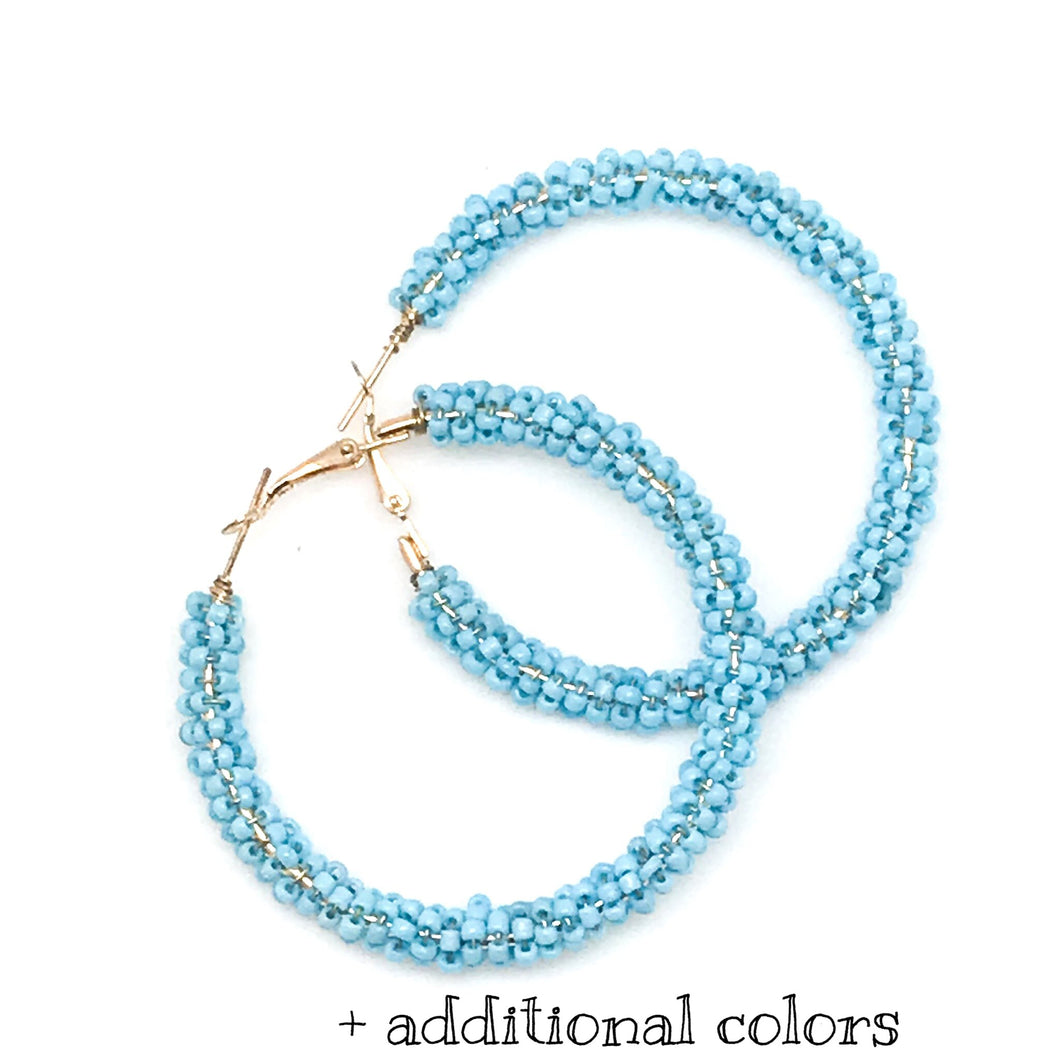 BEADED HOOPS - ASSORTED COLORS