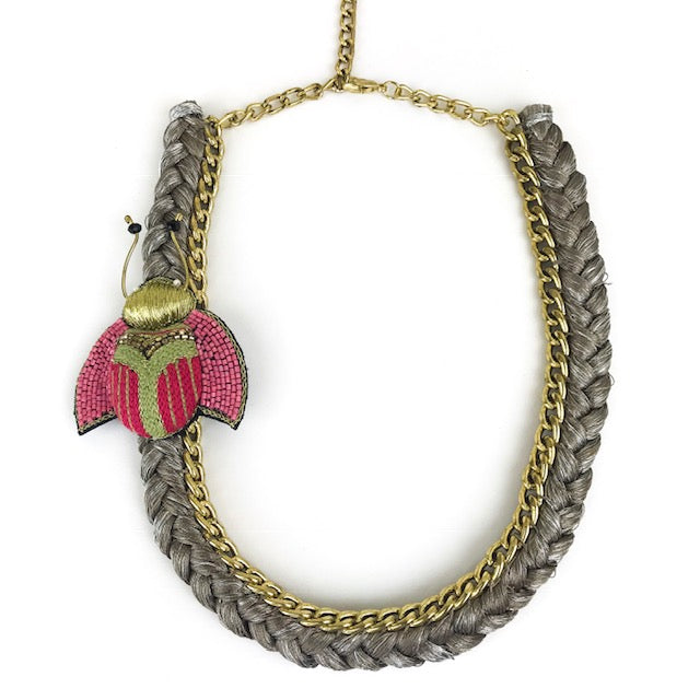 BRAIDED MOTH NECKLACE