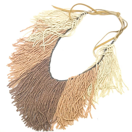 BEADED TASSEL NECKLACE - ASSORTED COLORS