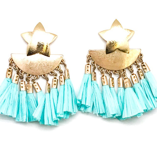 STAR + RAFFIA TASSELS - ASSORTED COLORS