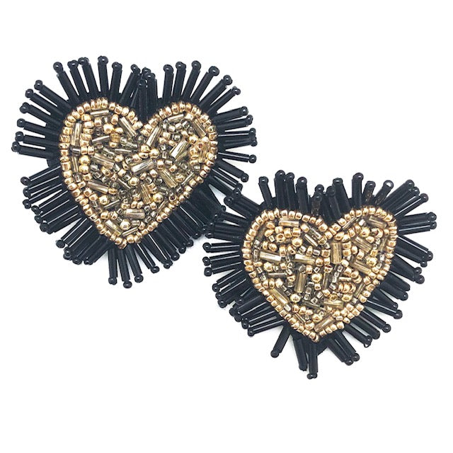 GOLD + BLACK HEART STUDS