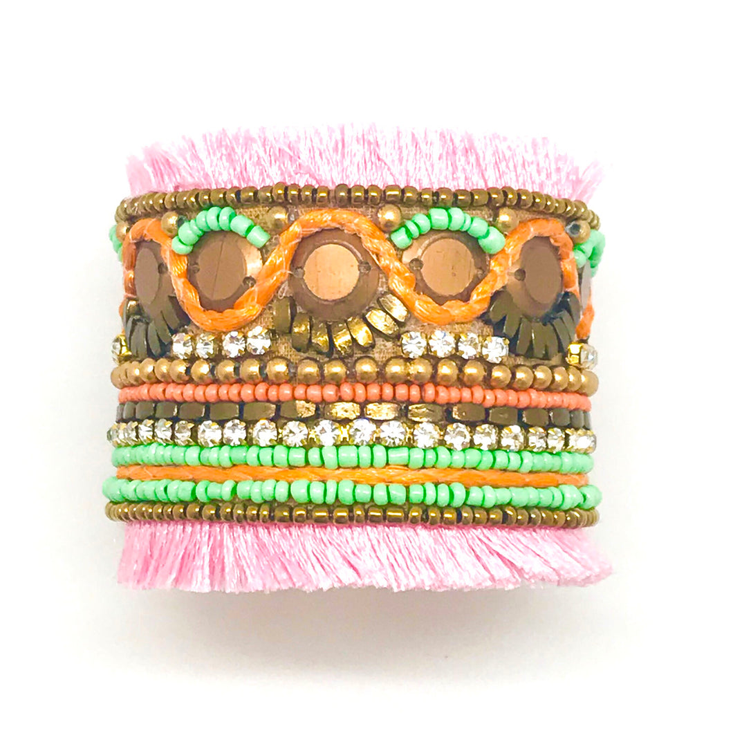 LIGHT PINK FRINGE CUFF