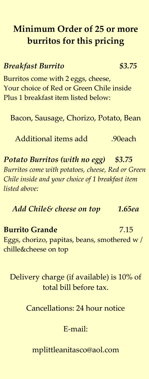 Little Anita's New Mexican Food Colorado Catering Menu Breakfast Burritos