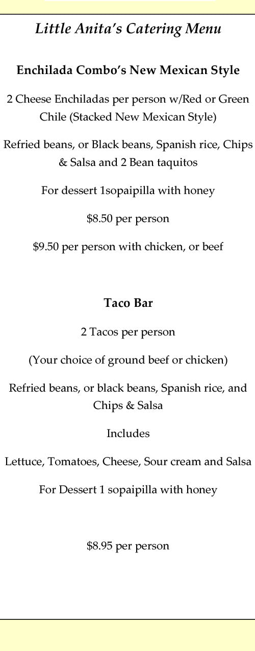 Little Anita's New Mexican Food Colorado Catering Menu Taco Bar