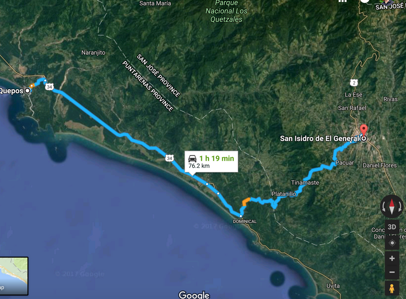 Manuel Antonio to San Isidro General Cycling Route