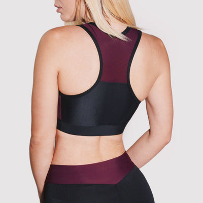 maroon black gym sports bra gymtopz