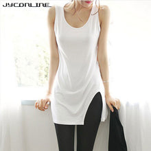 Casual Tank Tops Long T Shirts Women Solid Sleeveless Tees Shirt