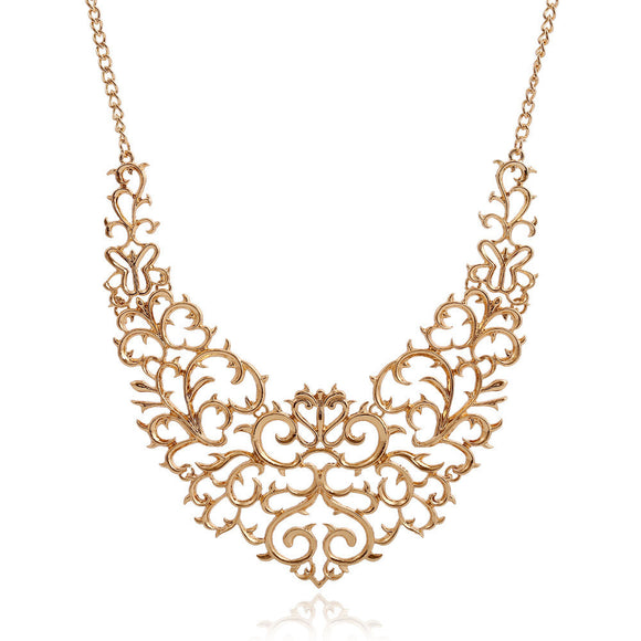 Hollow Carved Necklace Fashion Bib Choker