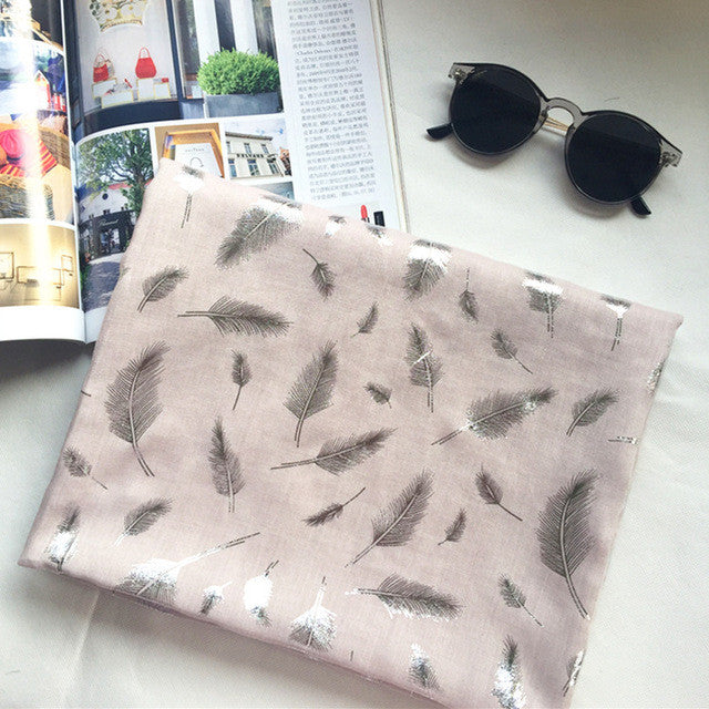 Cotton Scarf Women New Unqiue Feather Design Long