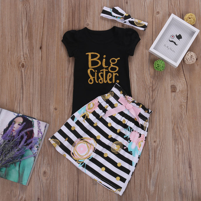 Big Little Sister Matching Outfits T-shirt Tops Romper+Long Pants+Hat Headband (Not a Set)