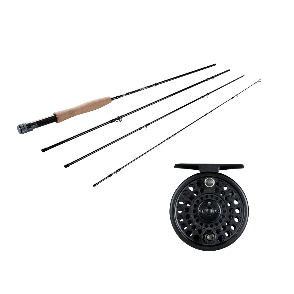 NightHawk Fly Kit - 7-8 Reel Size, 1.1:1 Gear Ratio, 9' Length, 4 Piece Rod, 8wt Line Rating