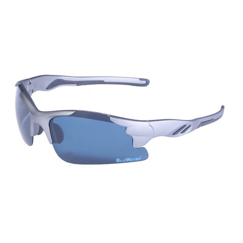 Sunglasses - BluWater Metallic Grey Semi Rimless Frame Grey Polarize Lens