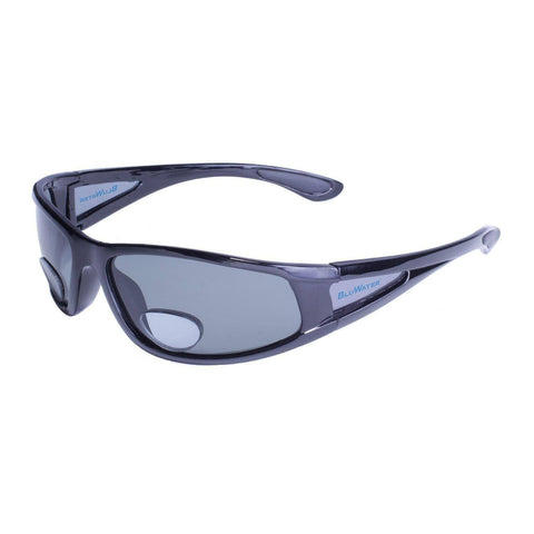 Sunglasses - BluWater Shiny Blk Frame W-Grey Polarized Lens Add Power 2.5