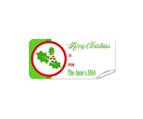 Red Holly 27pk Labels Christmas