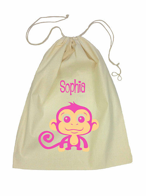Calico Drawstring Bag - Pink Monkey