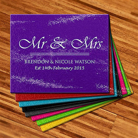 Mr & Mrs Glass Cutting Boards (Temporary Out of Stock)