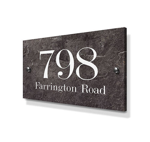Stone Effect Metal House Sign