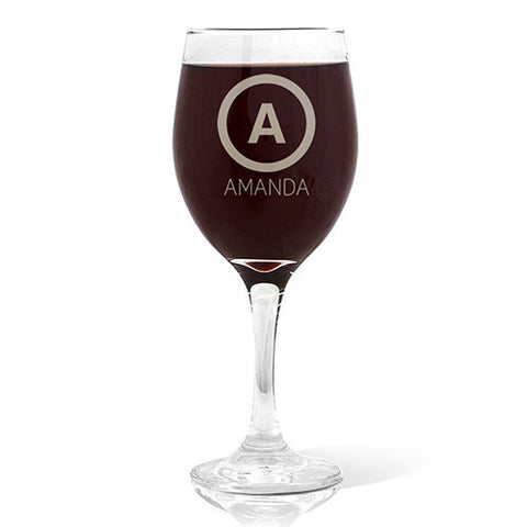 Single Initial Design Wine 410ml Glass