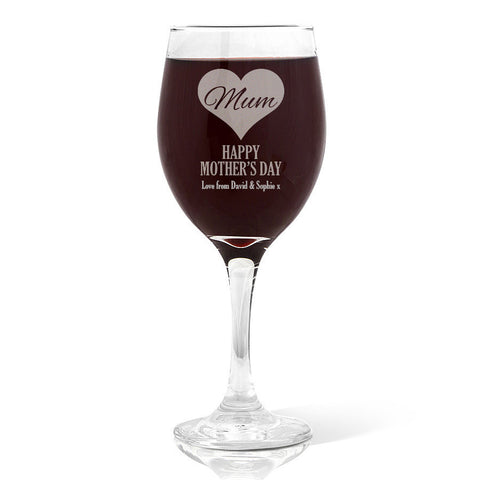 Mum in Heart Wine Glass (410ml)