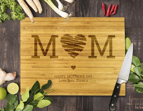 Mum Heart Bamboo Cutting Board 8x11""