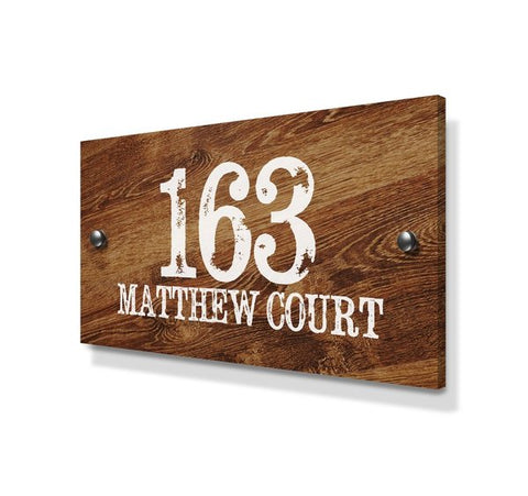 Wood Pine Effect Large Metal House Sign