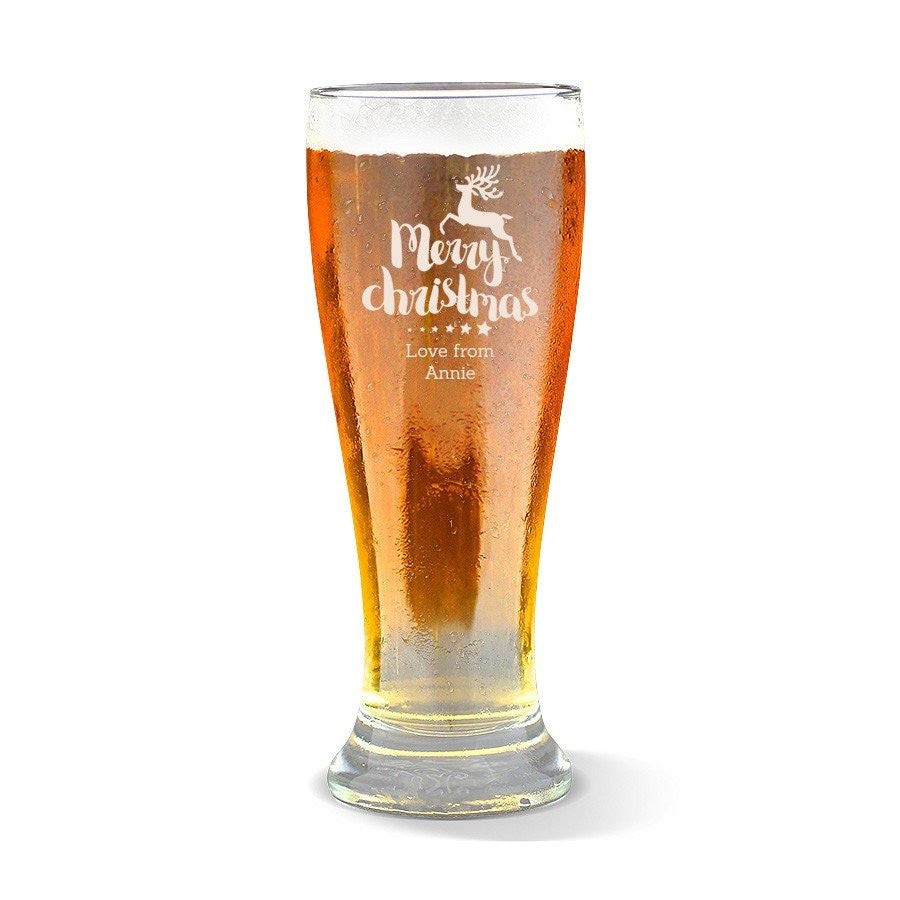 Christmas Reindeer Premium 425ml Beer Glass