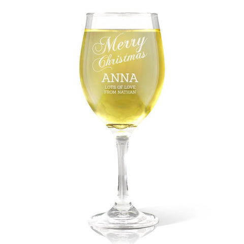 Merry Christmas Wine 410ml Glass