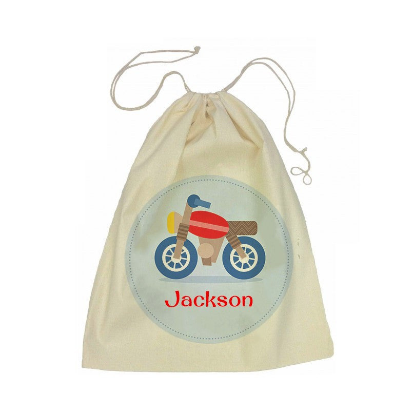 Calico Drawstring Bag - Motorbike