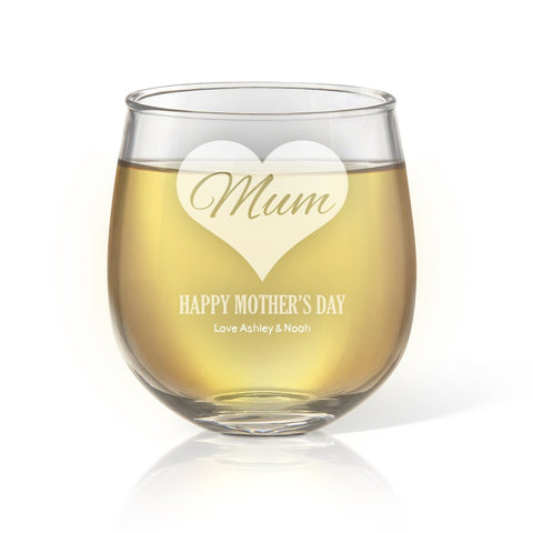 Mum in Heart Stemless Wine Glass