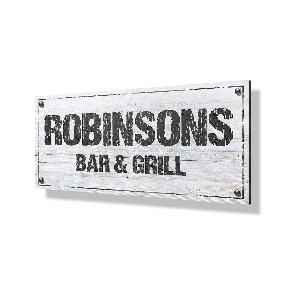 Bar & Grill Business Sign - 24x12""