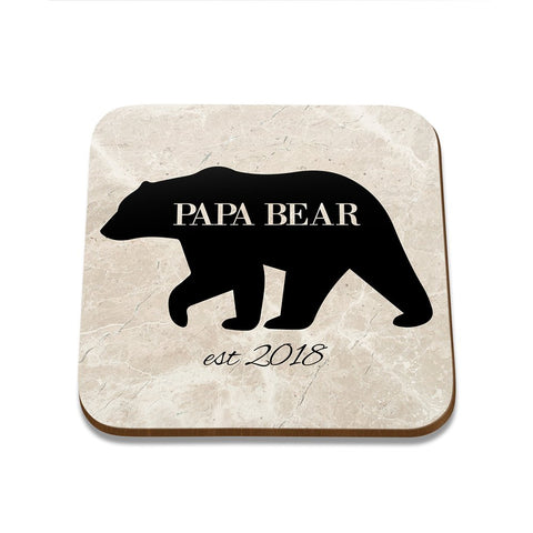 Papa Bear Square Coaster - Set of 4