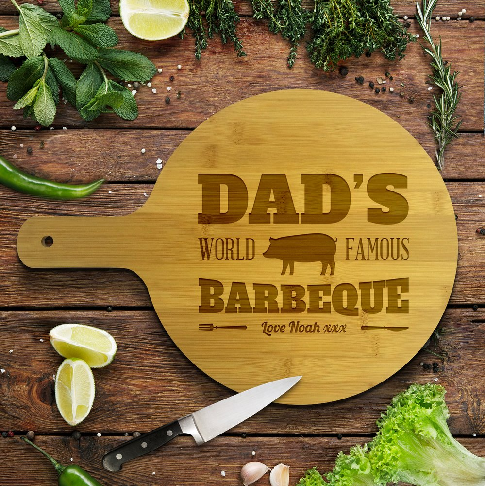Dad's Famous Barbeque Round Bamboo Serving Board