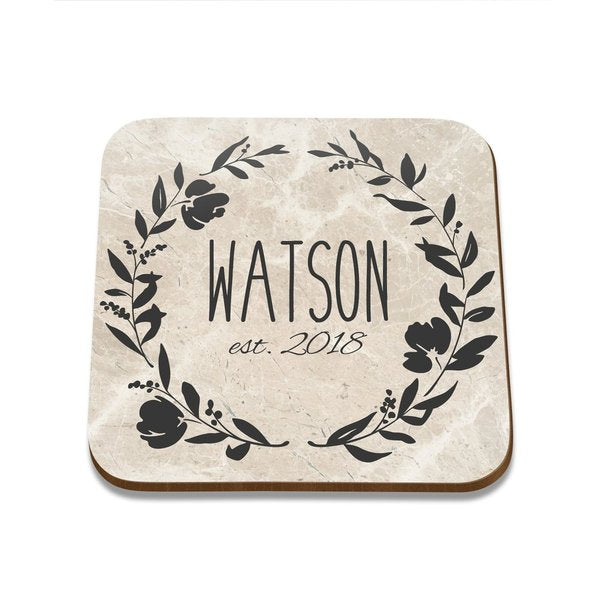 Flower Wreath Square Coaster - Set of 4