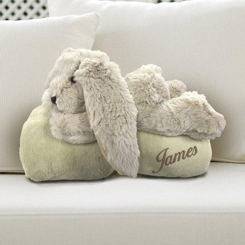 Rabbit Embroidered Blanket with Toy