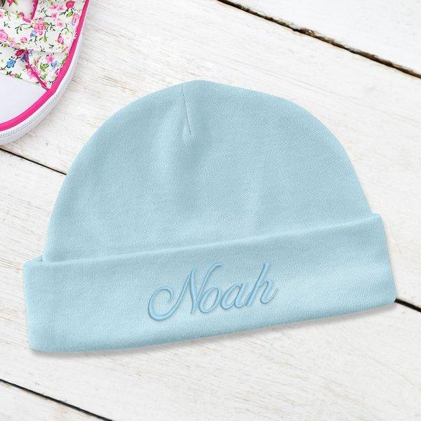 Blue Embroidered Baby Beanie