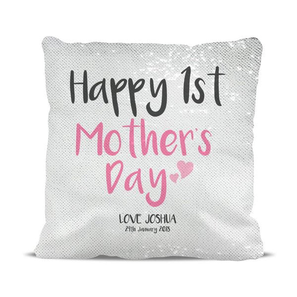 1st Mother's Day Magic Sequin Cushion Cover