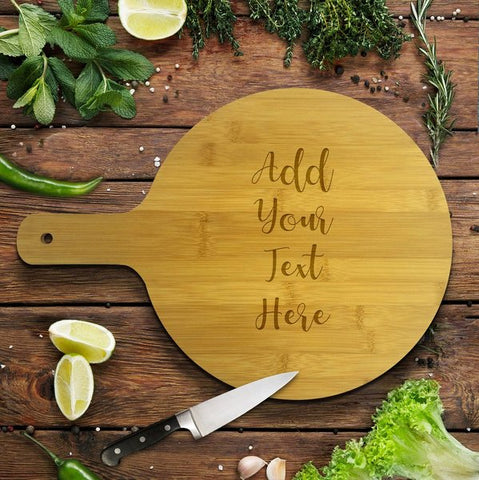Add Your Own Message Round Bamboo Serving Board