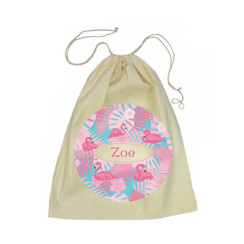 Calico Drawstring Bag - Flamingos