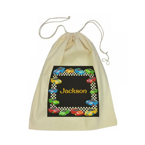 Calico Drawstring Bag - Race Cars