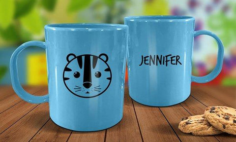 Tiger Plastic Mug - Blue