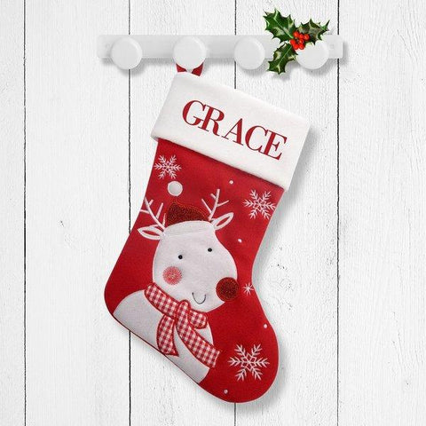 White Reindeer Red Santa Stocking