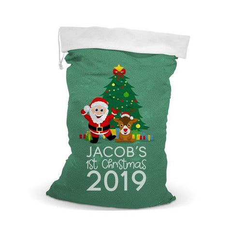1st Christmas Sequin Santa Sack