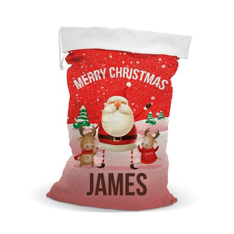 Red Santa Sequin Santa Sack