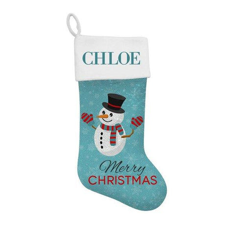 Snowman Sequin Santa Stocking