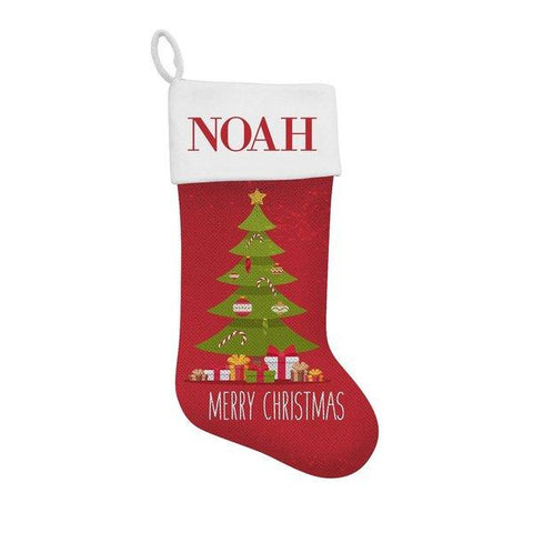 Tree Sequin Santa Stocking