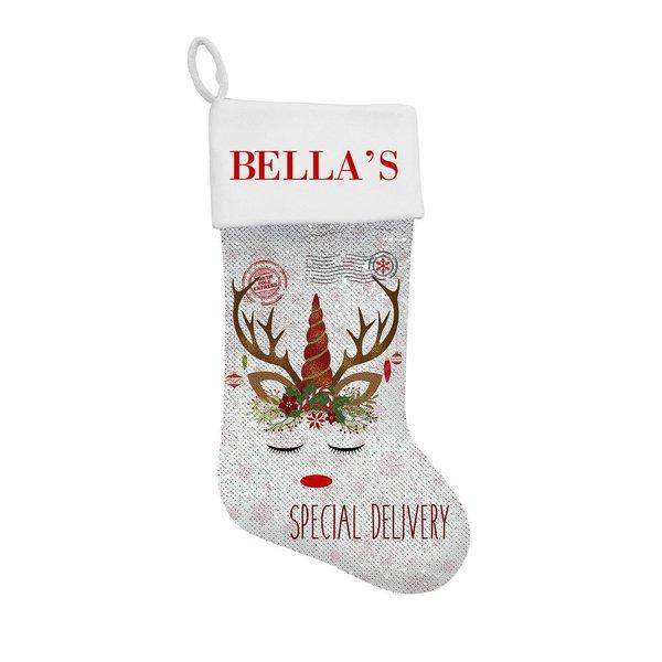 Unicorn Sequin Santa Stocking