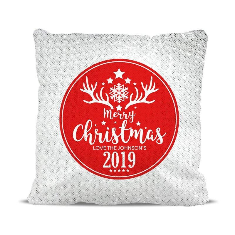 Merry Christmas Reversible Sequin Cushion Cover