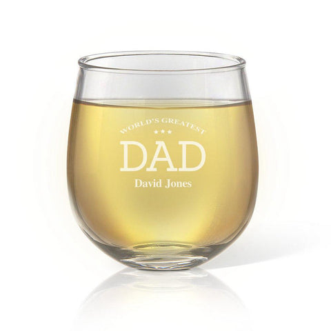Greatest Dad Stemless Wine Glass
