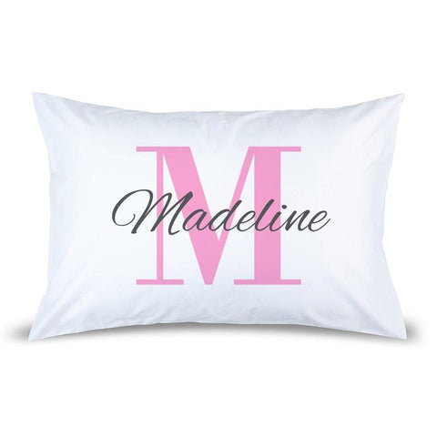Pink Monogram Pillow Case